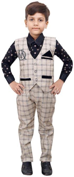Ahhaaaa Boy Cotton blend Checked Kurta pyjama set - Grey