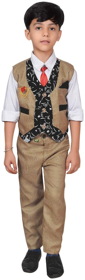 Ahhaaaa Boy Cotton blend Solid Kurta pyjama set - Brown