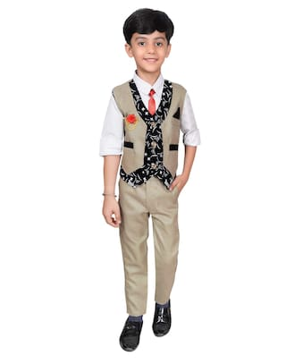 Ahhaaaa Boy Cotton blend Printed Kurta pyjama set - Beige