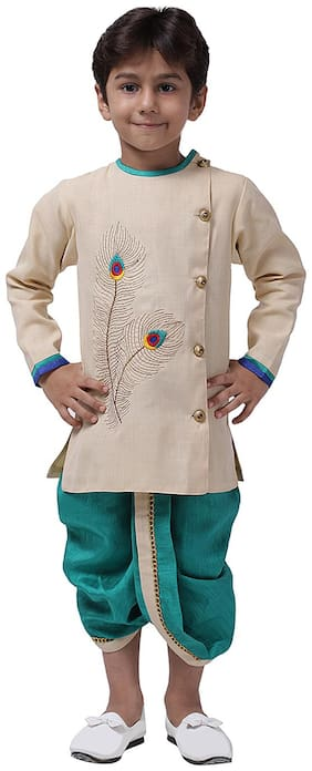 Ahhaaaa Boy Cotton blend Self design Dhoti kurta - Green & White