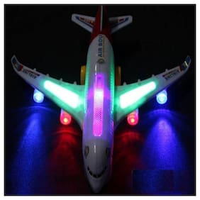 Airbus A380 Airplane Model Toys With Loud Musical Flashing Light Automatic Airplane Electric Plane, Bump N Go Feature Aeroplane For Children  (Multicolor)