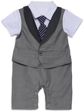 Aj Dezines Baby boy Poly cotton Solid Romper - Grey