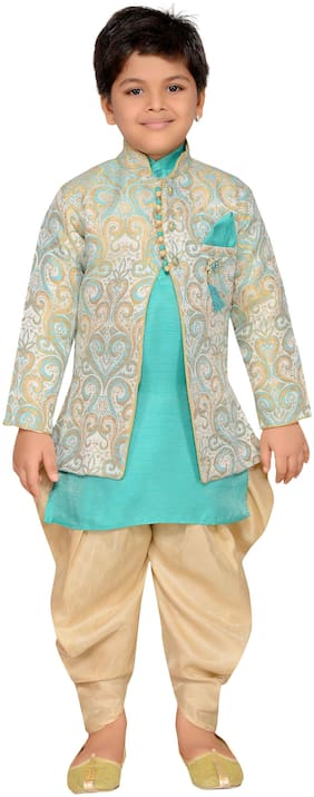 Aj Dezines Boy Silk blend Printed Sherwani - Green