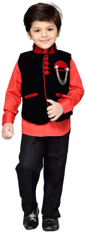 AJ Dezines Black And Red Shirt And Pant With Waistcoat