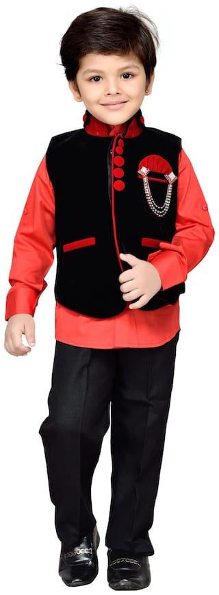 AJ Dezines Kids Party Wear Waistcoat Suit Set for Boys