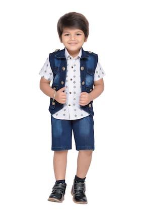 Aj Dezines Boy Cotton Blend Top & Bottom Set - Blue