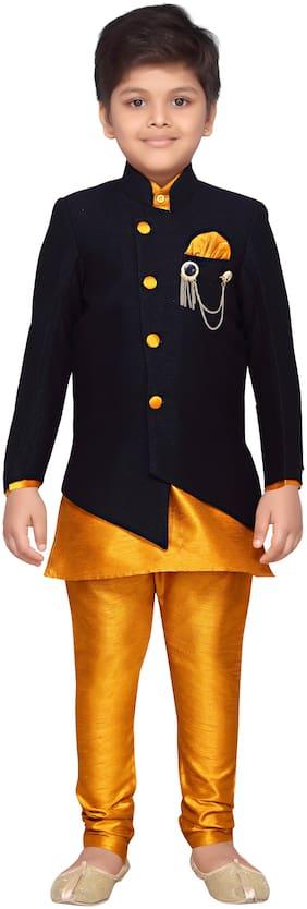 Aj Dezines Boy Silk blend Solid Kurta pyjama set - Black