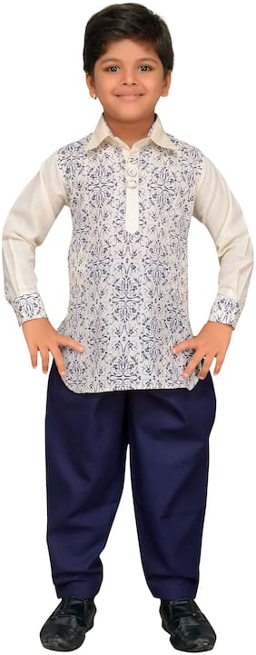 Aj Dezines Boy Cotton blend Printed Kurta pyjama set - White