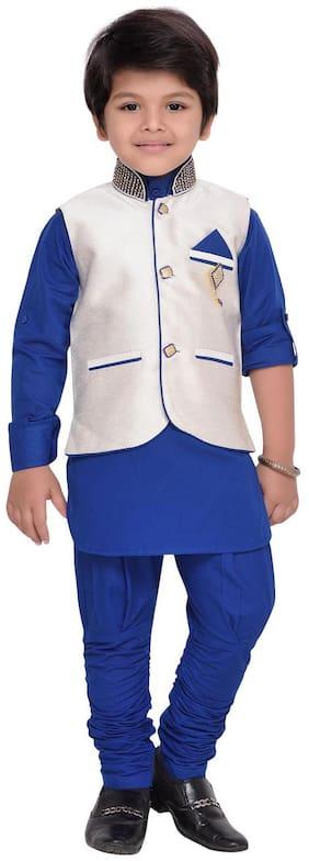 Aj Dezines Boy Silk blend Printed Kurta pyjama set - Blue