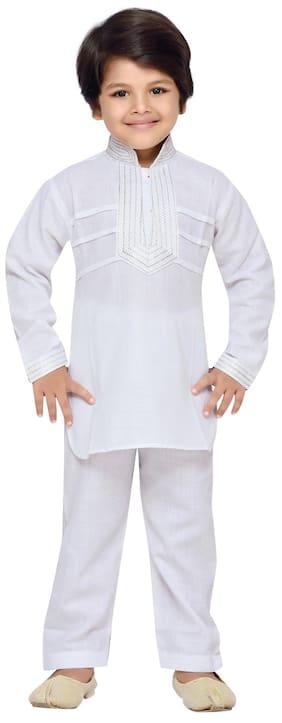 Aj Dezines Boy Cotton Solid Sherwani - Grey