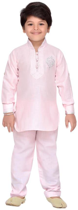 Aj Dezines Boy Cotton Solid Kurta pyjama set - Pink