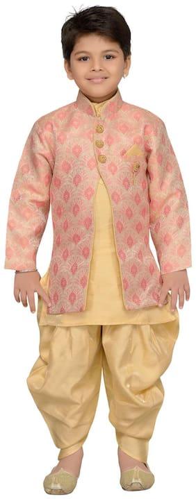 Aj Dezines Baby boy Silk blend Printed Sherwani - Pink