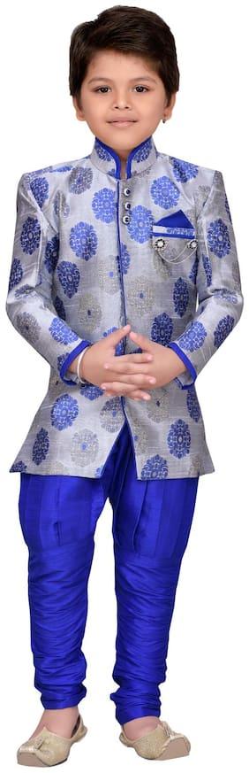 Aj Dezines Boy Silk blend Solid Sherwani - Blue