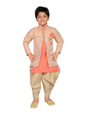 Aj Dezines Boy Silk Blend Printed Sherwani - Pink