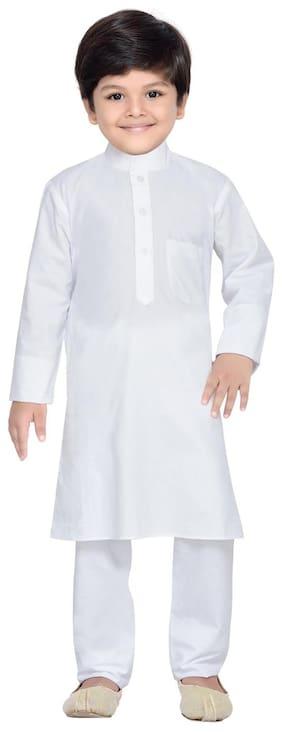 Aj Dezines Boy Cotton Solid Kurta pyjama set - White