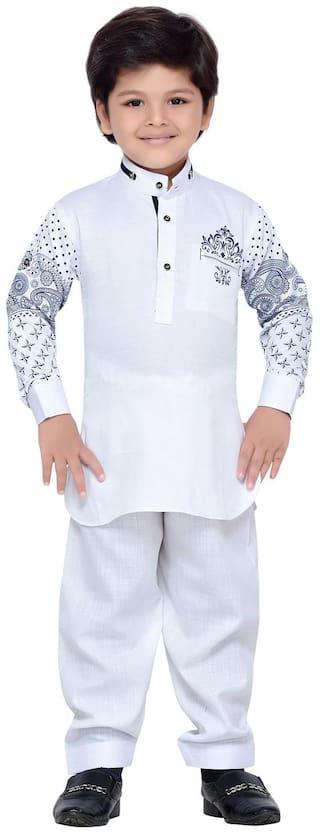 Aj Dezines Boy Cotton Printed Kurta pyjama set - White