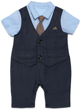Aj Dezines Baby boy Poly cotton Solid Romper - Grey