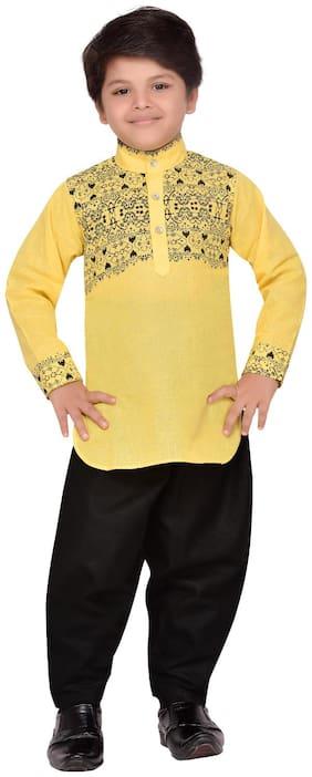 Aj Dezines Boy Cotton Printed Kurta pyjama set - Yellow
