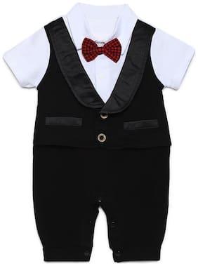 Aj Dezines Baby boy Poly cotton Solid Romper - Black