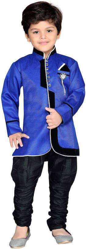 Aj Dezines Boy Cotton blend Solid Sherwani - Blue