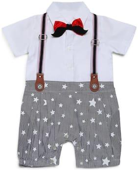 Aj Dezines Baby boy Poly cotton Printed Romper - White