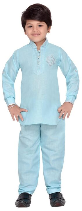 Aj Dezines Boy Cotton Solid Kurta Pyjama Set - Blue