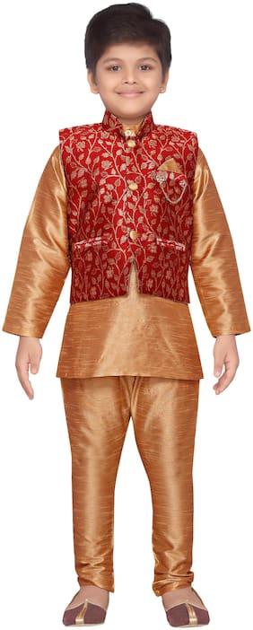 Aj Dezines Baby boy Raw silk Printed Kurta pyjama set - Maroon