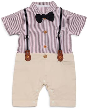 Aj Dezines Baby boy Poly cotton Striped Romper - Red