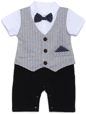 Aj Dezines Baby boy Poly cotton Striped Romper - Grey