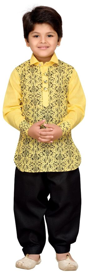 Aj Dezines Boy Cotton Blend Printed Sherwani - Yellow