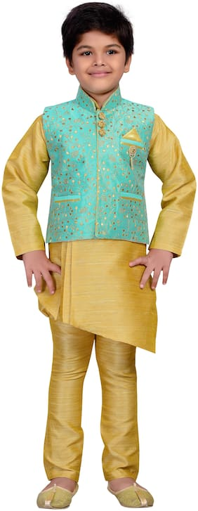 Aj Dezines Baby boy Raw silk Embellished Kurta pyjama set - Green