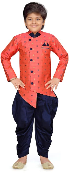 Aj Dezines Boy Cotton blend Printed Sherwani - Red & Blue