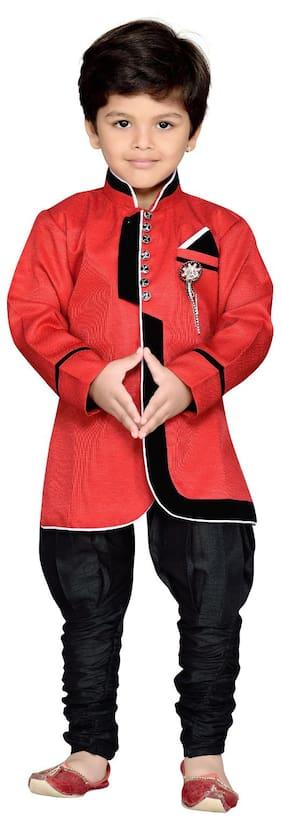 Aj Dezines Boy Cotton Blend Solid Kurta Pyjama Set - Red