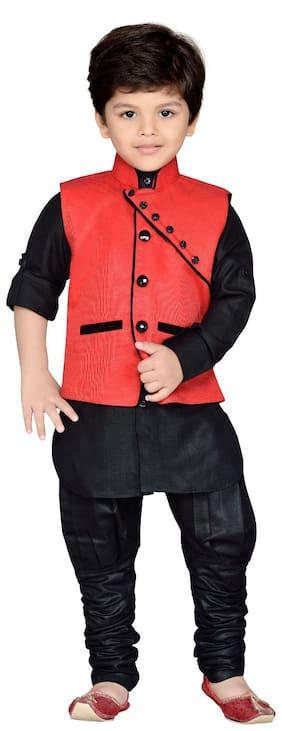 Aj Dezines Boy Silk blend Solid Kurta pyjama set - Red