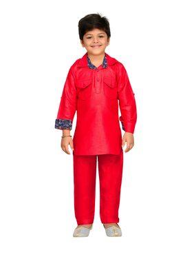 Aj Dezines Boy Cotton Solid Kurta Pyjama Set - Red