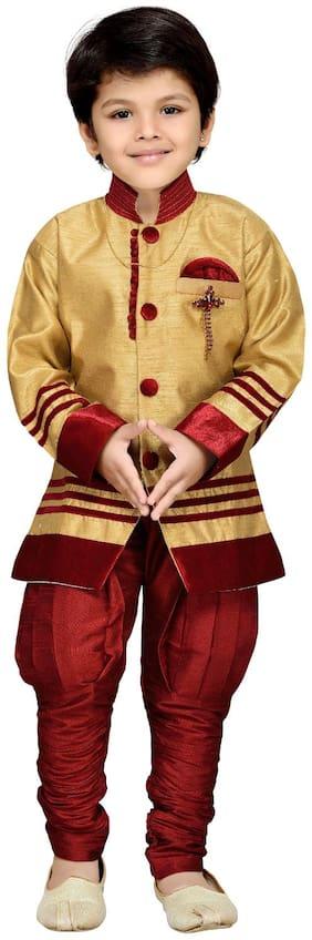 Aj Dezines Boy Silk blend Solid Sherwani - Maroon