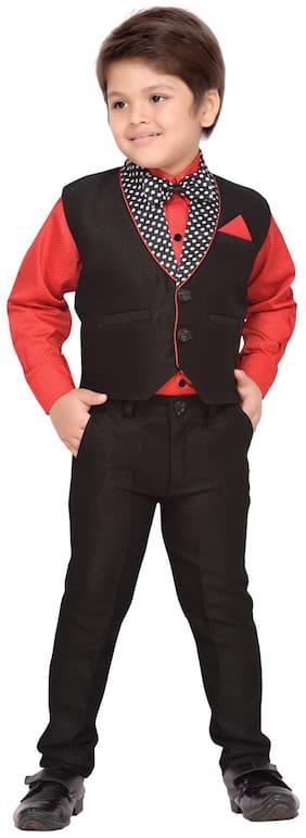 Aj Dezines Boy Cotton blend Solid Kurta pyjama set - Black