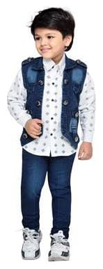 Aj Dezines Boy Cotton Printed Kurta pyjama set - Blue