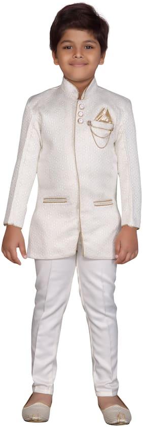 Aj Dezines Baby boy Silk blend Solid Sherwani - White