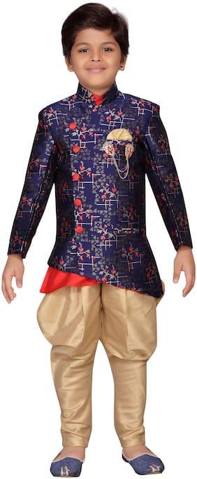 Aj Dezines Boy Jute silk Self design Sherwani - Multi