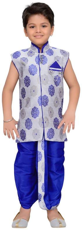 Aj Dezines Baby boy Silk blend Solid Dhoti kurta - Blue
