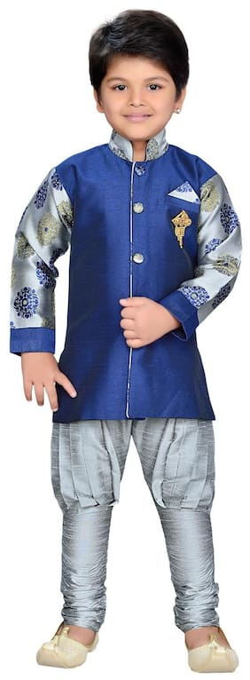 Aj Dezines Baby boy Silk blend Printed Sherwani - Grey