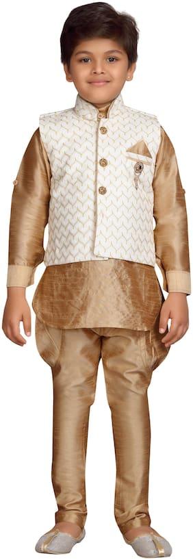 Aj Dezines Boy Silk blend Embellished Kurta pyjama set - Cream