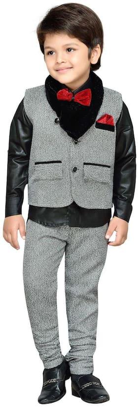 Aj Dezines Boy Cotton Printed Kurta pyjama set - Grey