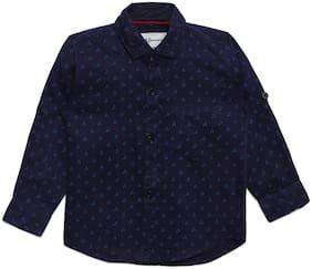 Aj Dezines Cotton Self design Shirt for Baby Boy - Blue