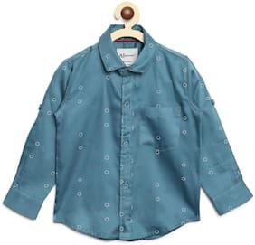 Aj Dezines Boy Cotton Printed Shirt Blue