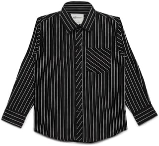 Aj Dezines Boy Cotton Striped Shirt Black