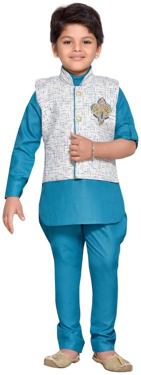 Aj Dezines Boy Cotton blend Printed Kurta pyjama set - Blue