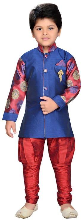 Aj Dezines Baby boy Silk blend Printed Sherwani - Maroon