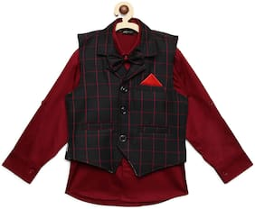 AJ Dezines Kids Party Wear Maroon And Brown Color Shirt & Waistcoat Set For Boys